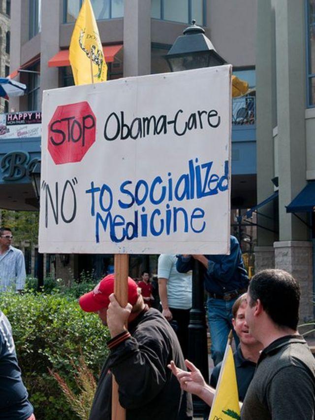 Manifestación en contra del Obamacare.