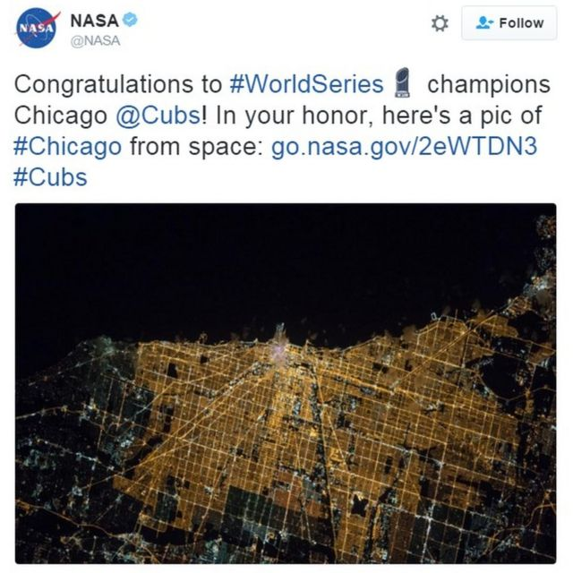 """""""Congratulations to #WorldSeries champions Chicago @Cubs! In your honor, here's a pic of #Chicago from space: http://go.nasa.gov/2eWTDN3 #Cubs"""""""