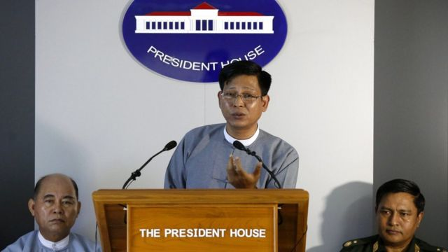 Zaw Htay (C), speaker of president office talks during a press conference on situation in northern Rakhine State, at president house in Naypyitaw, Myanmar, 16 November 2016