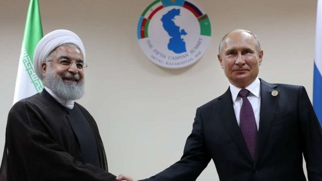 روسای جمهور روسیه و ایران پس از امضای کنوانسیون جدید رژیم حقوقی دریای خزر با هم دیدار کردند