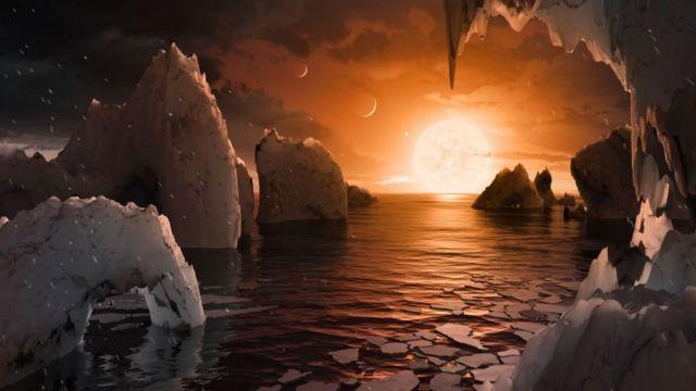 Ilustração de planetas da TRAPPIST-1