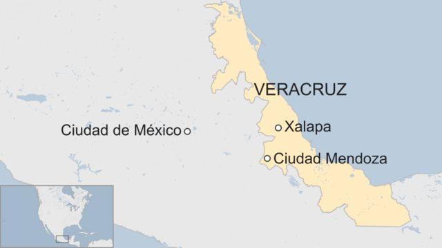 Ciudad Mendoza en un mapa de México