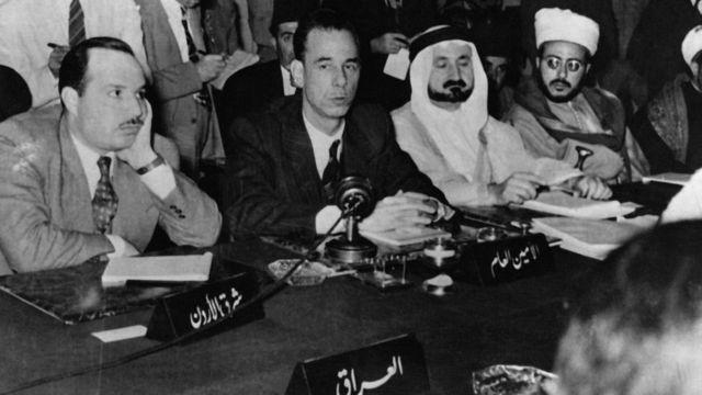 اجتماع استثنائي لجامعة الدول العربية في منطقة اللودان قرب العاصمة السورية عام 1946