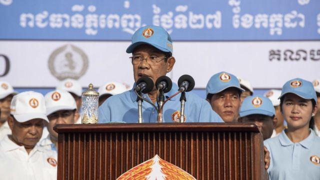 Ông Hun Sen phát biểu trong một cuộc vận động bầu cử