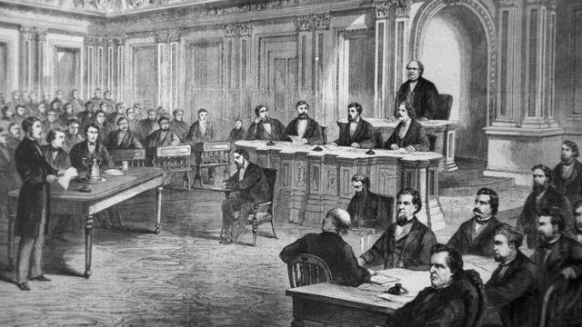 Ilustración de juicio contra Andrew Johnson