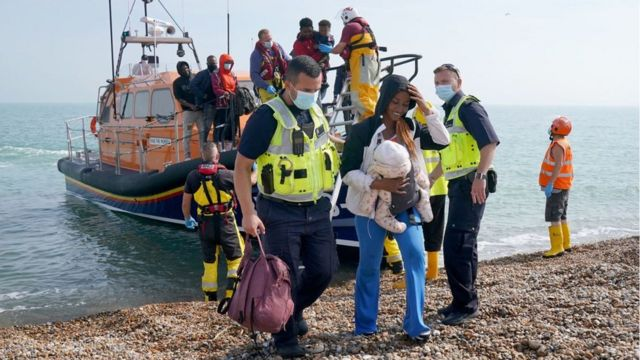 A lifeboat arrives on the beach in Dungeness
