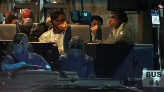 A bus believed to be carrying Australian passengers from the cruise ship Diamond Princess, leaves Daikoku Pier Cruise Terminal in Yokohama, south of Tokyo, Japan