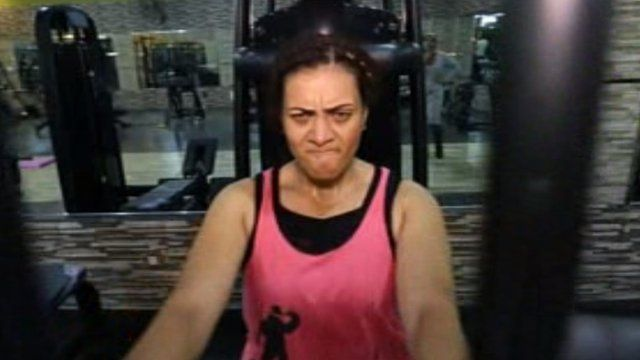 Hind Wajih Othman training in a gym