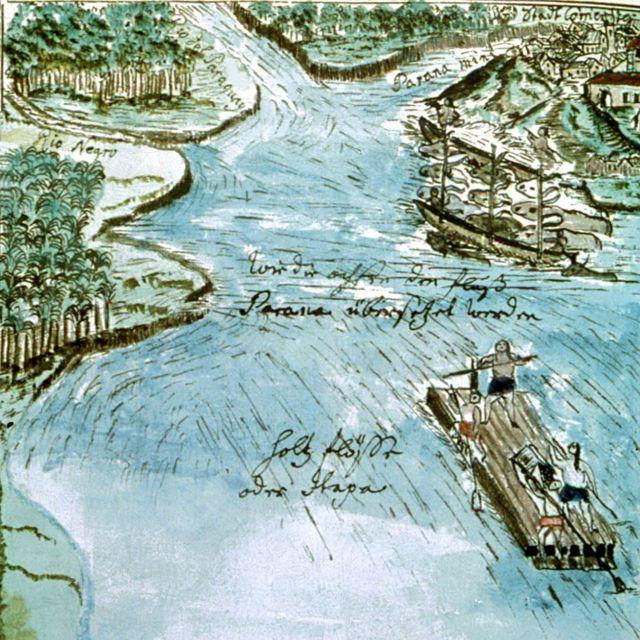 Ilustración con guaraníes en barca y ríos de Florian Baucke