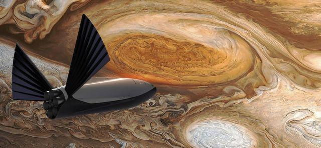 Imagen artística de una nave en Júpiter.