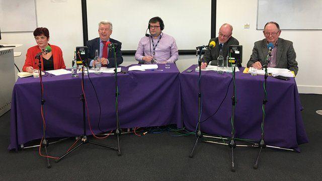 Sheila Thomson, Lewis Macdonald, BBC Steven Duff, Kevin Stewart and Tom Mason