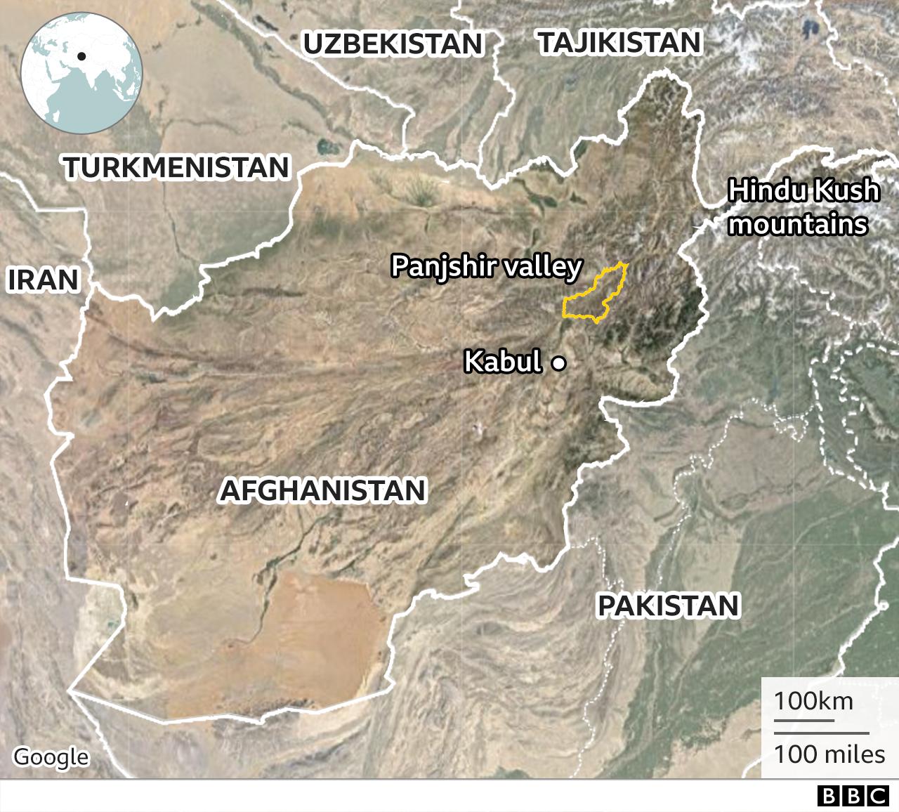 Map of Panjshir Valley in Afghanistan