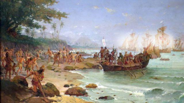 Pintura do desembarque de Cabral em Porto Seguro