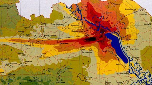 Mapa de la dispersión de material radiactivo.