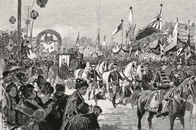 Entrada triunfal do imperador Meiji em Tóquio após retornar da guerra. Desenho de Dante Paolocci, de L'Illustrazione Italiana, Ano XXII, No 32, 11 de agosto de 1895