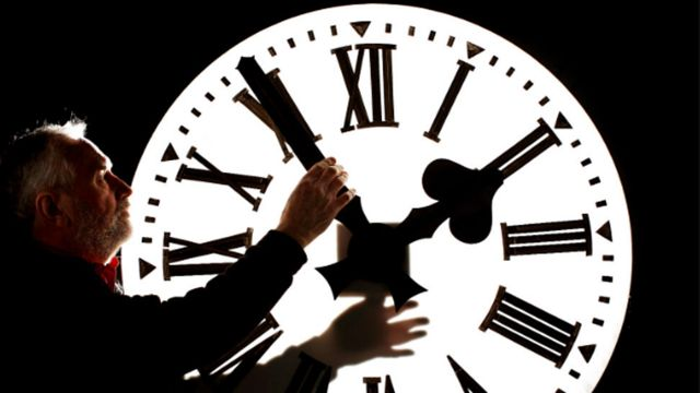 ภาพคนถือเข็มนาฬิกา
