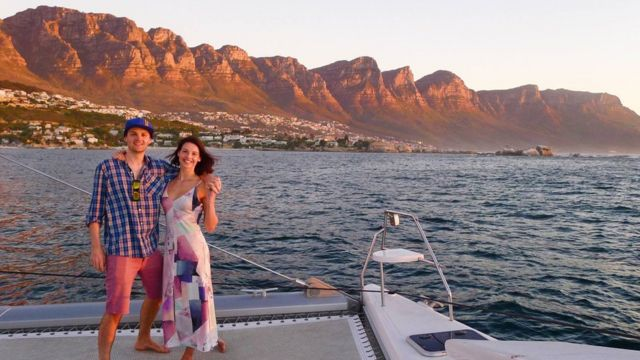 Joanna and her fiance on a boat