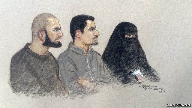Mohammed Ali Ahmed (L), Zakaria Boufassil and Soumaya Boufassil in court
