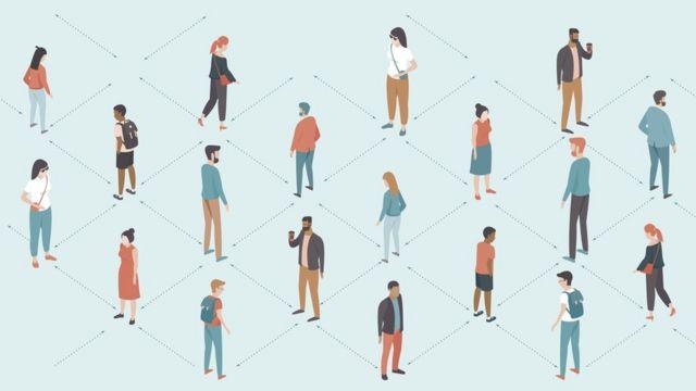 Ilustração com pessoas distantes umas das outras