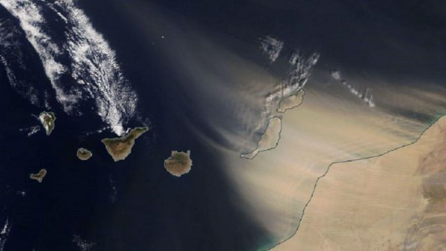 A satellite image showing dust being blown towards the Canary Islands