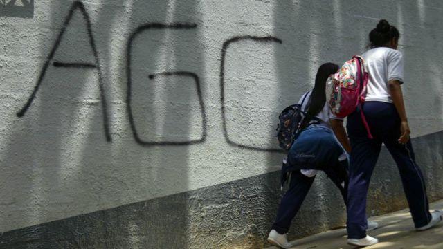 Pintada de las AGC en Medellín