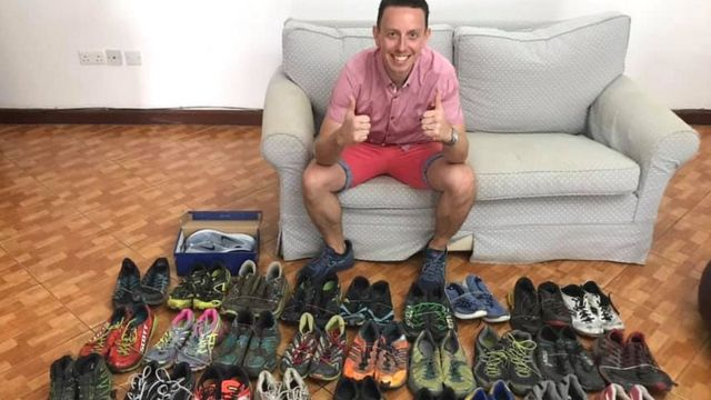 Ian Payne with shoe donations