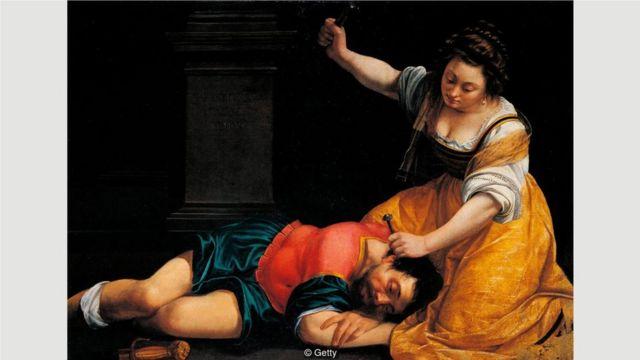阿尔泰米西娅•真蒂莱斯基的作品描绘了许多针对男性的暴力行为,1620年完成的《雅亿与西西拉》(Jael and Sisera)就是一个例子。