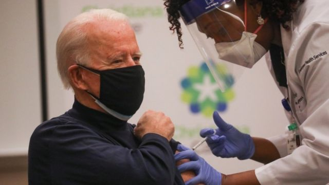 US President-elect Joe Biden receives a dose of a vaccine against the coronavirus disease at a Delaware hospital
