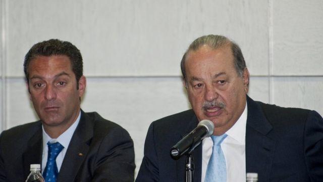 Carlos Slim junto a su hijo Carlos Slim Domit