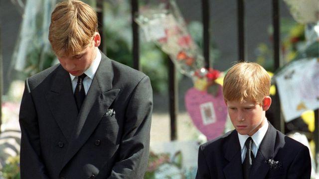 Принцы Уильям и Гарри на похоронах принцессы Дианы