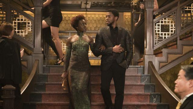 Lupita Nyong'o and Chadwick Boseman in Black Panther