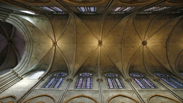 A view of the stone ceiling inside the Notre-Dame before the fire
