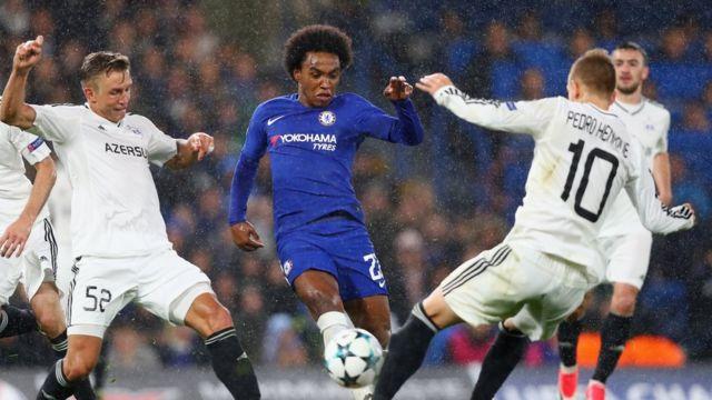 Chelsea klubundan Willian Borges da Silva top uğrunda Qabağ oyunçuları ilə rəqabətdə