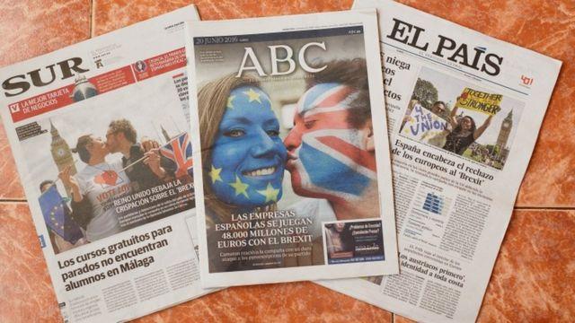 Jornais espanhóis tratando do plebiscito britânico desta quinta