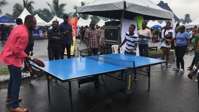 Pipo dey play table tennis for Bole festival