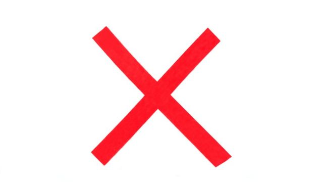 Sign with an x