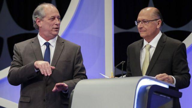Ciro Gomes e Geraldo Alckmin durante debate realizado nesta quarta-feira pelo SBT, Folha de S.Paulo e UOL