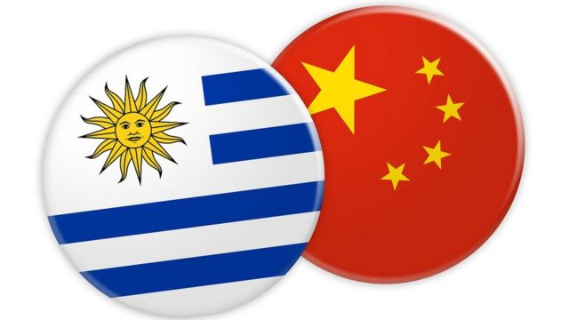 Uruguay and China Flag Button Pattern