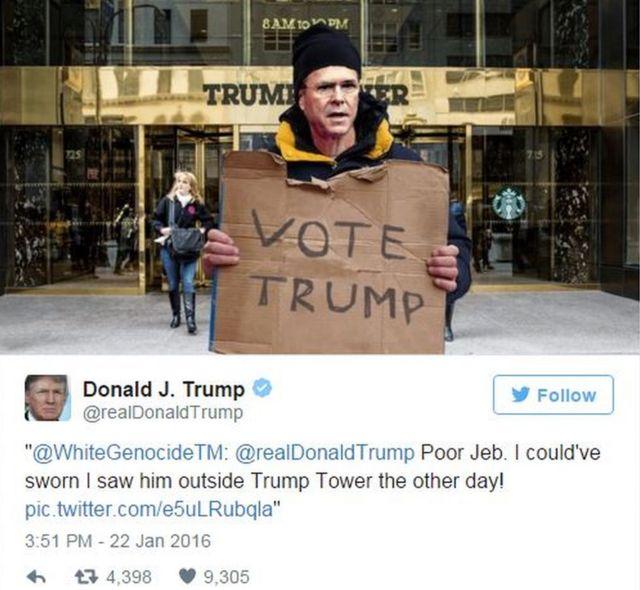 ジェブ・ブッシュ氏の写真を合成したとみられる白人至上主義者のアカウントによるツイート。「かわいそうなジェブ。こないだトランプ・タワーの前で絶対見かけたと思っていたけど」
