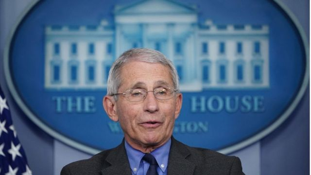Fauci em coletiva de imprensa da Casa Branca