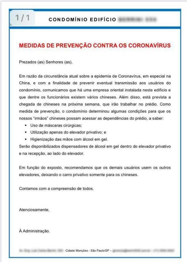 Comunicado criado por condomínio em São Paulo'