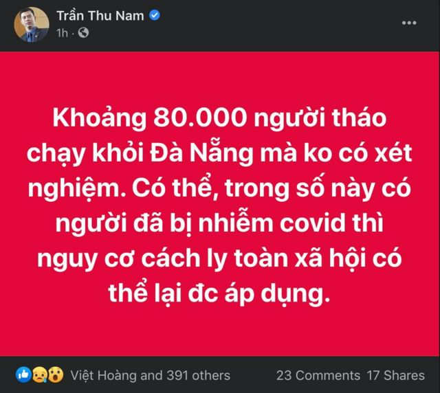 Nhiều người lo ngại việc đưa người rời khỏi Đà Nẵng mà không xét nghiệm tăng nguy cơ dịch bệnh.