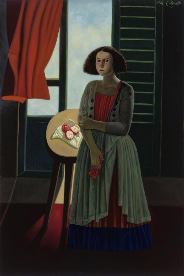 يحتل قماش الثوب أو الرداء أو الستائر إلى جانب جسد المرأة مكانا مركزيا في تكوين لوحة عفيفة