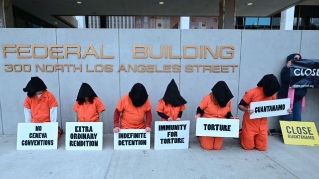 Manifestación por el cierre de la cárcel de Guantánamo.