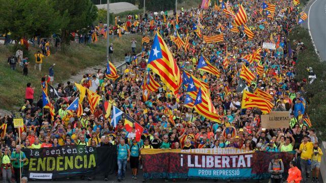 Marcha independentista hacia Barcelona.
