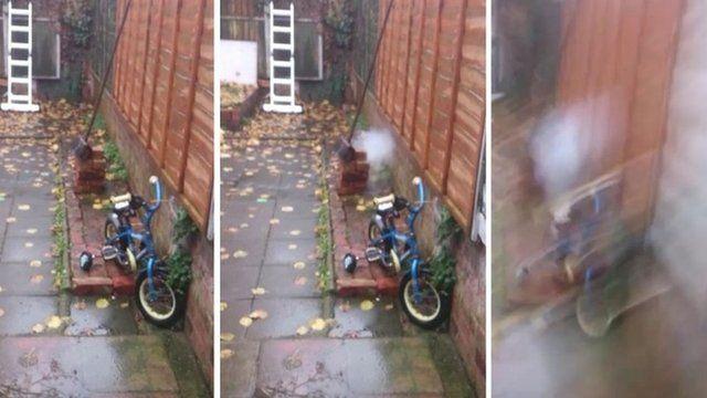 Test explosion in garden