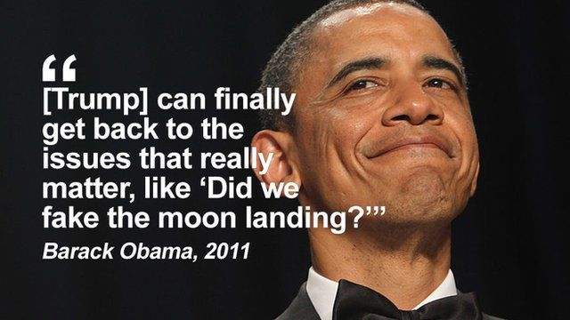 "Getty Images Obama: ""Trump can finally get back to the issues that really matter, like ""Did we fake the moon landing""?"