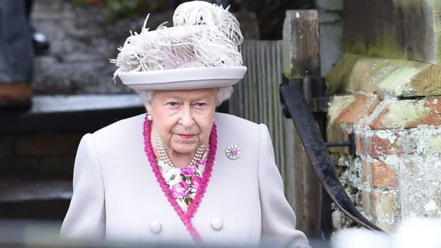 The Queen leaves the Royal Family's traditional Christmas Day service at St Mary Magdalene Church in Sandringham on 25 December 2018