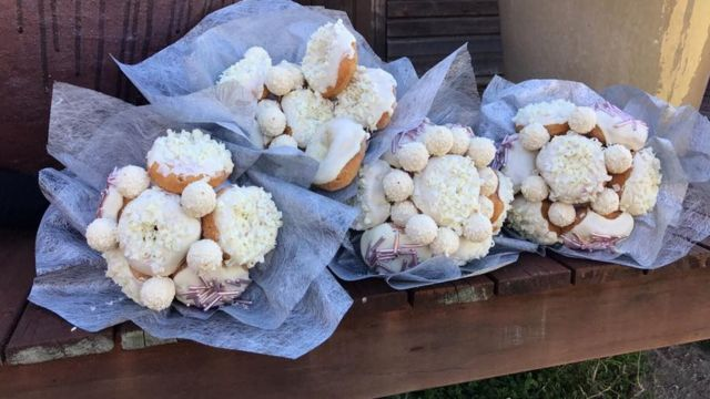 The four doughnut bouquets are laid out
