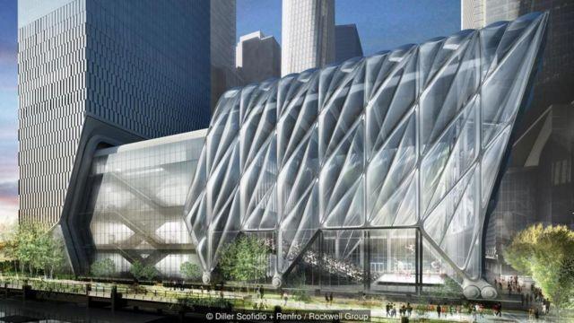 The Shed di New York, yang akan dibuka tahun depan, dan nantinya akan ditutupi oleh struktur tembus pandang.